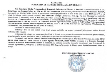 Vanzare terenuri in Baia Mare – Extras publicatie imobiliara, din data de 02. 12. 2015
