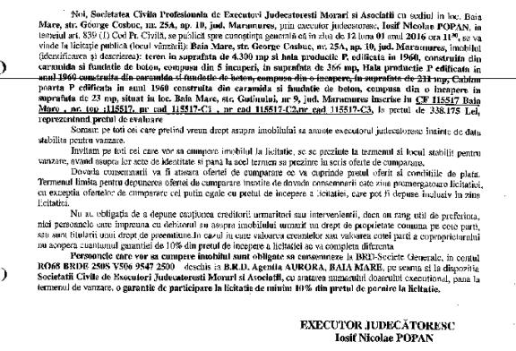 Vanzare teren si hala in Baia Mare – Extras publicatie vanzare imobiliara, din data de 10. 12. 2015