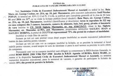 Vanzare teren si casa in Sighetu Marmatiei – Extras publicatie vanzare imobiliara, din data de 11. 12. 2015