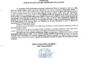 Vanzare teren si casa in Somcuta Mare – Extras publicatie vanzare imobiliara, din data de 16. 12. 2015