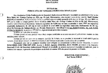 Vanzare teren si casa in Farcasa – Extras publicatie imobiliara, din data de 07. 12. 2015