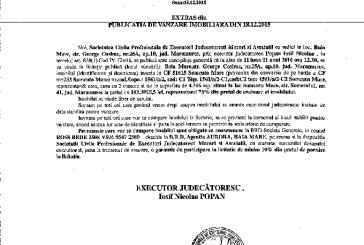 Vanzare casa in Somcuta Mare – Extras publicatie vanzare imobiliara, din data de 18. 12. 2015