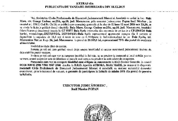 Vanzare apartament si teren in Baia Sprie – Extras publicatie vanzare imobiliara, din data de 18. 12. 2015