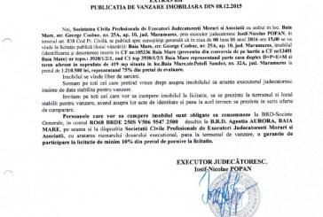 Vanzare teren si casa in Baia Mare – Extras publicatie vanzare imobiliara, din data de 08. 12. 2015
