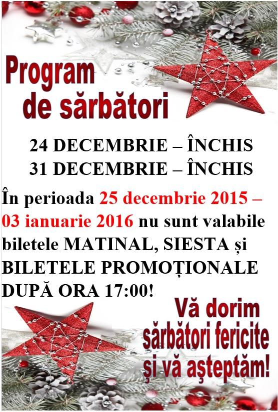 program de sarbatori 2015