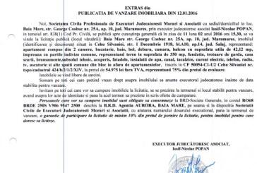 Vanzare apartament in Cehu Silvaniei – Extras publicatie vanzare imobiliara, din data de 12. 01. 2016