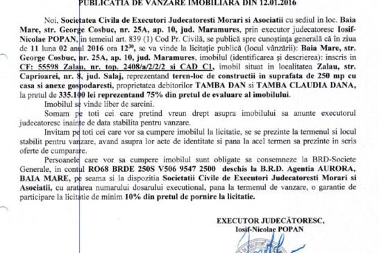 Vanzare teren si casa in Zalau – Extras publicatie vanzare imobiliara, din data de 12. 01. 2016