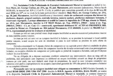 Vanzare statie de carburanti, depozit si alte bunuri in Moisei – Extras publicatie vanzare imobiliara, din data de 11. 01. 2016