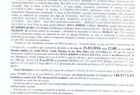 Vanzare casa si teren in Moisei – Extras publicatie vanzare imobiliara, din data de 15. 01. 2016