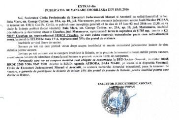 Vanzare teren si casa nefinalizata in Cicarlau – Extras publicatie vanzare imobiliara, din data de 15. 01. 2016