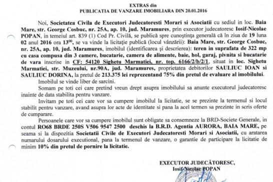Vanzare teren si casa in Sighetu Marmatiei – Extras publicatie vanzare imobiliara, din data de 20. 01. 2016