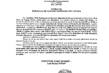 Vanzare corp si etaj din casa de locuit si teren in Baia Mare – Extras publicatie vanzare imobiliara, din data de 13. 01. 2016