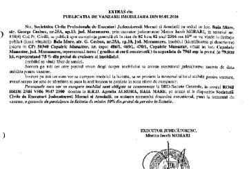 Vanzare teren in Copalnic Manastur – Extras publicatie vanzare imobiliara, din data de 05. 01. 2016