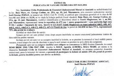 Vanzare teren si casa in Tautii Magheraus – Extras publicatie vanzare imobiliara, din data de 04. 01. 2016