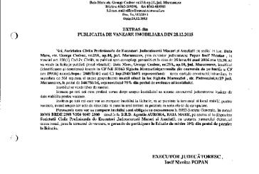 Vanzare casa si teren intravilan in Sighetu Marmatiei – Extras publicatie vanzare imobiliara, din data de 28. 12. 2015