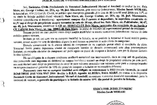 Vanzare apartament si drept de proprietate asupra unui teren in Baia Mare – Extras publicatie vanzare imobiliara, din data de 11. 01. 2016
