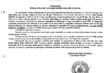 Vanzare teren si casa in Farcasa – Extras publicatie vanzare imobiliara, din data de 14. 01. 2016