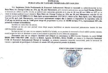 Vanzare apartament si teren in Baia Sprie – Extras publicatie vanzare imobiliara, din data de 14. 01. 2016
