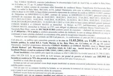 Vanzare teren in Moisei – Extras publicatie vanzare imobiliara, din data de 15. 01. 2016