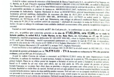 Vanzare apartament si cota teren in Sighetu Marmatiei – Extras publicatie vanzare imobiliara, din data de 20. 01. 2016