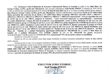 Vanzare casa, teren si alte constructii in Baia Mare – Extras publicatie vanzare imobiliara, din data de 22. 01. 2016