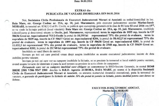 Vanzare terenuri in Grosi si Ocolis – Extras publicatie vanzare imobiliara, din data de 04. 01. 2016