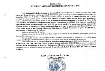 Vanzare casa si teren intravilan in Somcuta Mare – Extras publicatie vanzare imobiliara, din data de 15. 01. 2016
