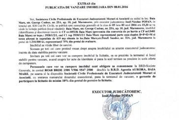 Vanzare teren si casa in Baia Mare – Extras publicatie vanzare imobiliara, din data de 08. 01. 2016