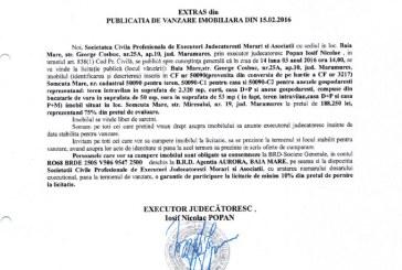 Vanzare casa si teren intravilan in Somcuta Mare – Extras publicatie vanzare imobiliara, din data de 15. 02. 2016