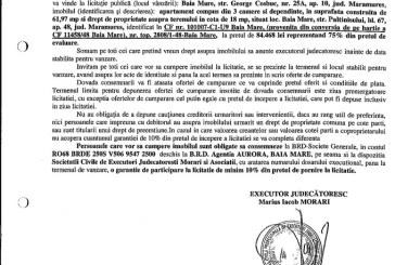 Vanzare apartament si drept proprietate teren in Baia Mare – Extras publicatie vanzare imobiliara, din data de 10. 02. 2016