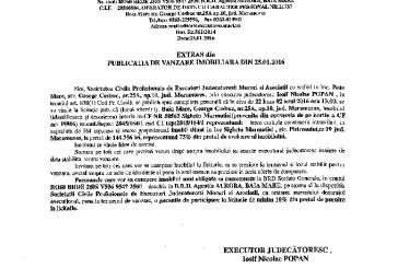 Vanzare casa, anexe gospodaresti si teren in Sighetu Marmatiei – Extras publicatie vanzare imobiliara, din data de 25. 01. 2016