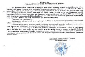 Vanzare teren pe care exista casa nefinalizata in Cicarlau – Extras publicatie vanzare imobiliara, din data de 15. 02. 2016