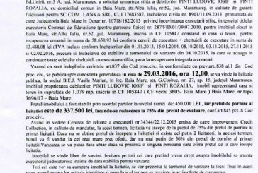 Vanzare casa si teren in Baia Mare – Extras publicatie vanzare imobiliara, din data de 19. 02. 2016