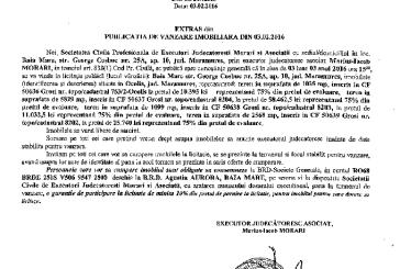 Vanzare terenuri in Ocolis – Extras publicatie vanzare imobiliara, din data de 03. 02. 2016