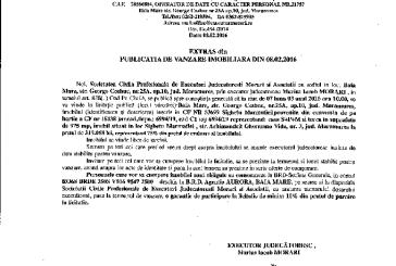 Vanzare casa si teren in Sighetu Marmatiei – Extras publicatie vanzare imobiliara, din data de 08. 02. 2016