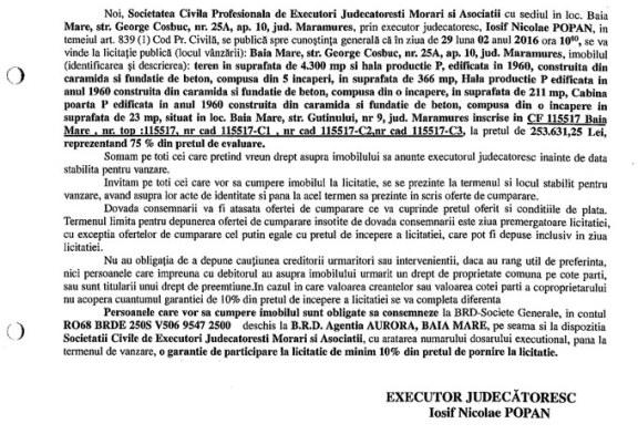 Vanzare teren si hala in Baia Mare – Extras publicatie vanzare imobiliara, din data de 10. 02. 2016