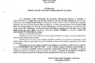 Vanzare teren extravilan in Grosi – Extras publicatie vanzare mobiliara, din data de 24. 02. 2016