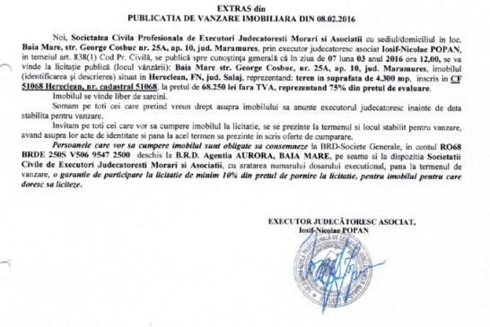 Vanzare teren in Hereclean, judetul Salaj – Extras publicatie vanzare imobiliara, din data de 08. 02. 2016