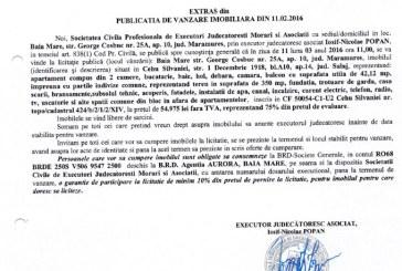 Vanzare apartament, teren si alte spatii in Cehu Silvaniei – Extras publicatie vanzare imobiliara, din data de 11. 02. 2016