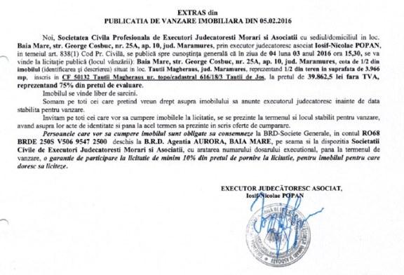 Vanzare teren in Tautii Magheraus – Extras publicatie vanzare imobiliara, din data de 05. 02. 2016