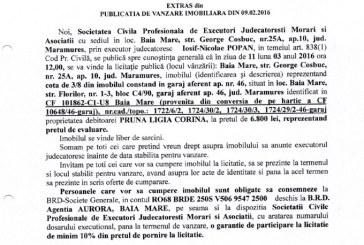 Vanzare garaj in Baia Mare – Extras publicatie vanzare imobiliara, din data de 09. 02. 2016