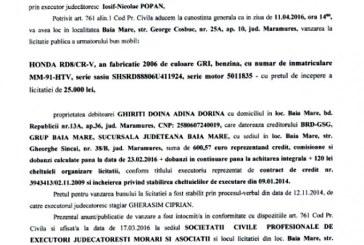 Vanzare Honda RD8/CR-V – Extras publicatie vanzare mobiliara, din data de 17. 03. 2016