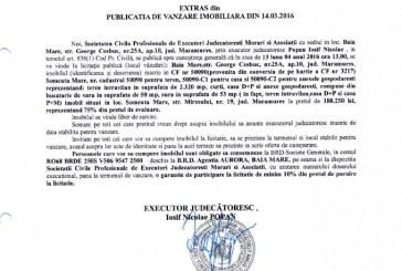 Vanzare casa si teren in Somcuta Mare – Extras publicatie vanzare imobiliara, din data de 14. 03. 2016