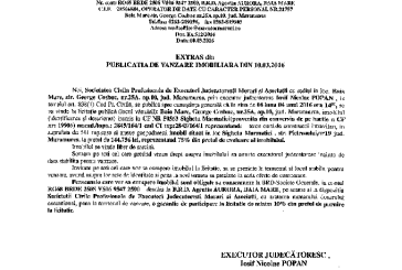 Vanzare casa si teren in Sighetu Marmatiei – Extras publicatie vanzare imobiliara, din data de 10. 03. 2016