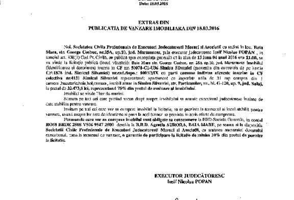 Vanzare apartament in Simleu Silvaniei – Extras publicatie vanzare mobiliara, din data de 18. 03. 2016