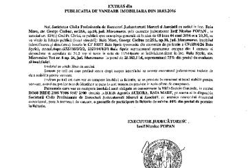 Vanzare apartament si teren in Baia Sprie – Extras publicatie vanzare imobiliara, din data de 10. 03. 2016