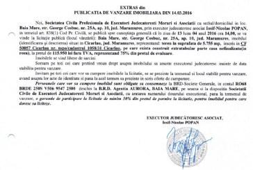 Vanzare teren si casa nefinalizata in Cicarlau – Extras publicatie vanzare imobiliara, din data de 14. 03. 2016