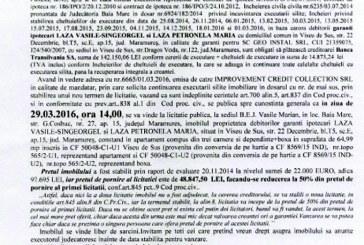 Vanzare apartament si boxa in Viseu de Sus – Extras publicatie vanzare imobiliara, din data de 01. 03. 2016