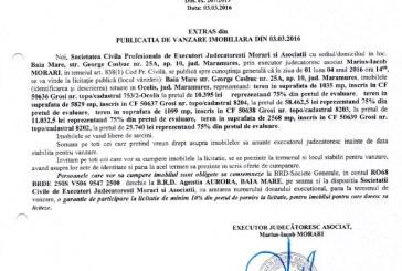 Vanzare terenuri in Ocolis si Grosi – Extras publicatie vanzare imobiliara, din data de 03. 03. 2016