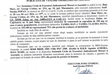 Vanzare casa si teren in Zalau – Extras publicatie vanzare imobiliara, din data de 28. 03. 2016